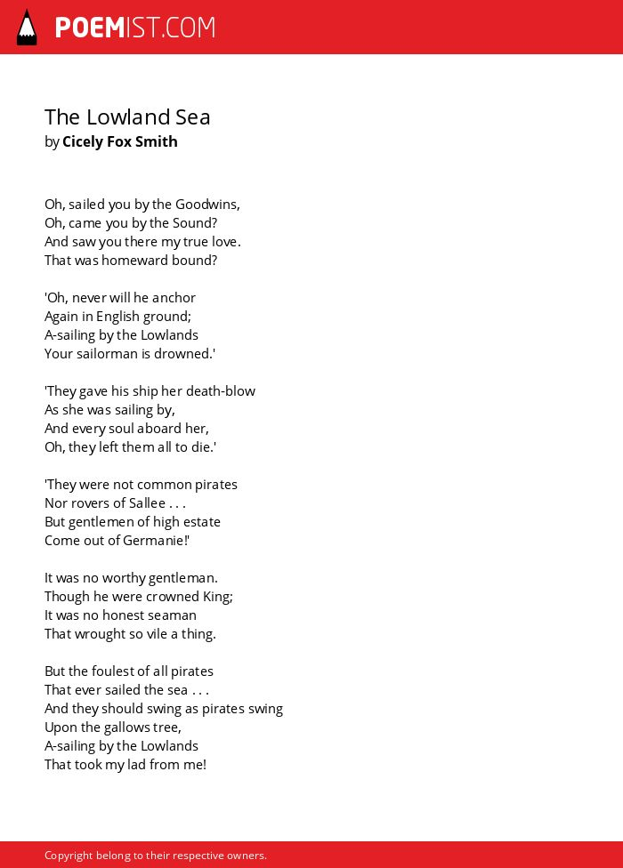 The Lowland Sea By Cicely Fox Smith Poemist