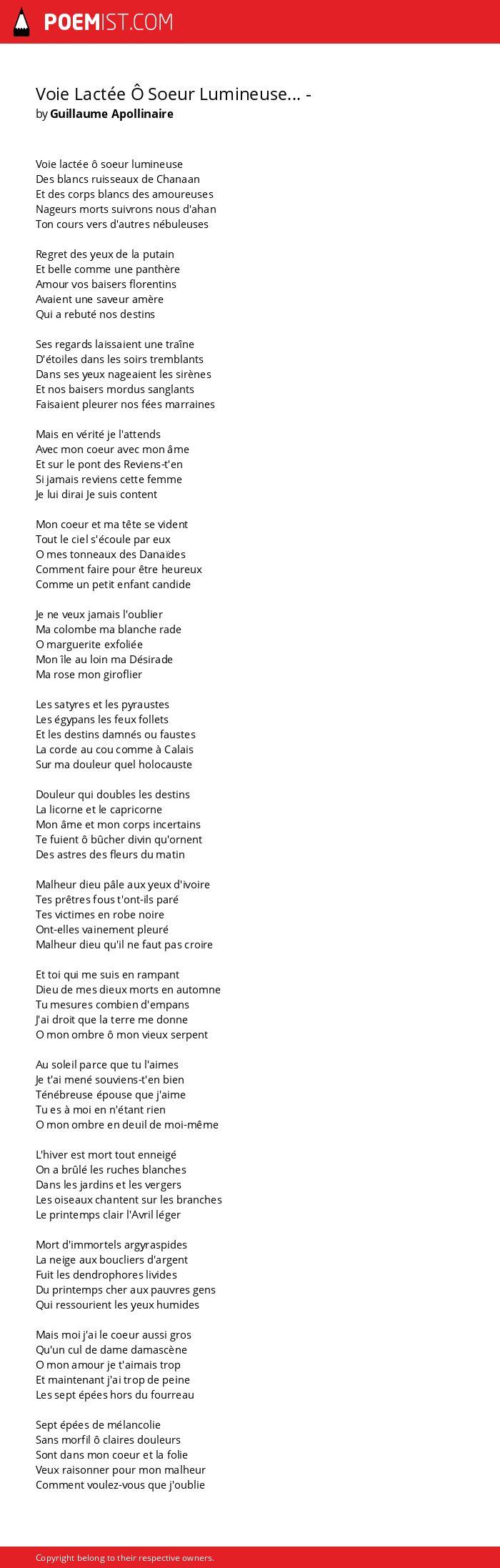 Voie Lactée ô Soeur Lumineuse By Guillaume Apollinaire