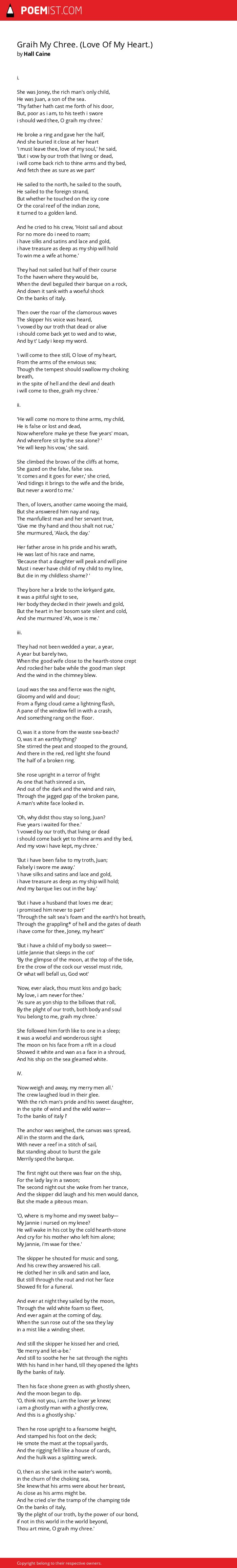 Graih My Chree  (Love Of My Heart ) by Hall Caine | Poemist