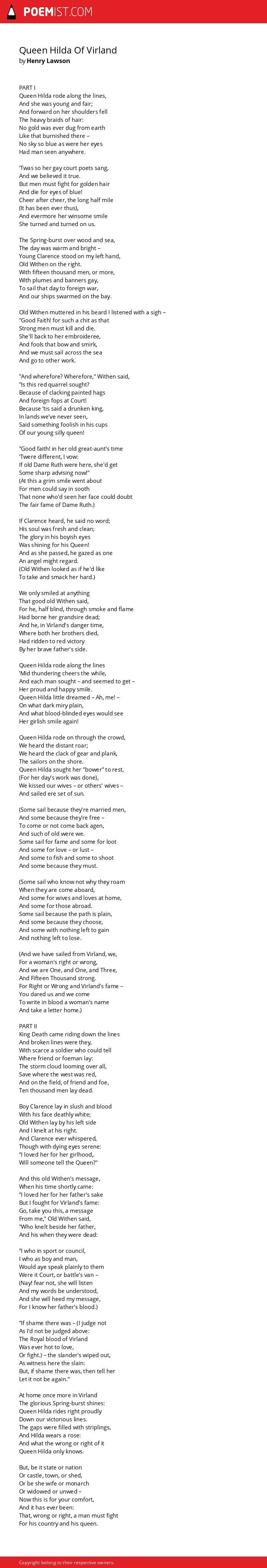 Queen Hilda Of Virland by Henry Lawson | Poemist