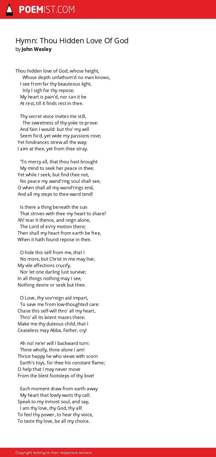 Hymn: Thou Hidden Love Of God by John Wesley | Poemist