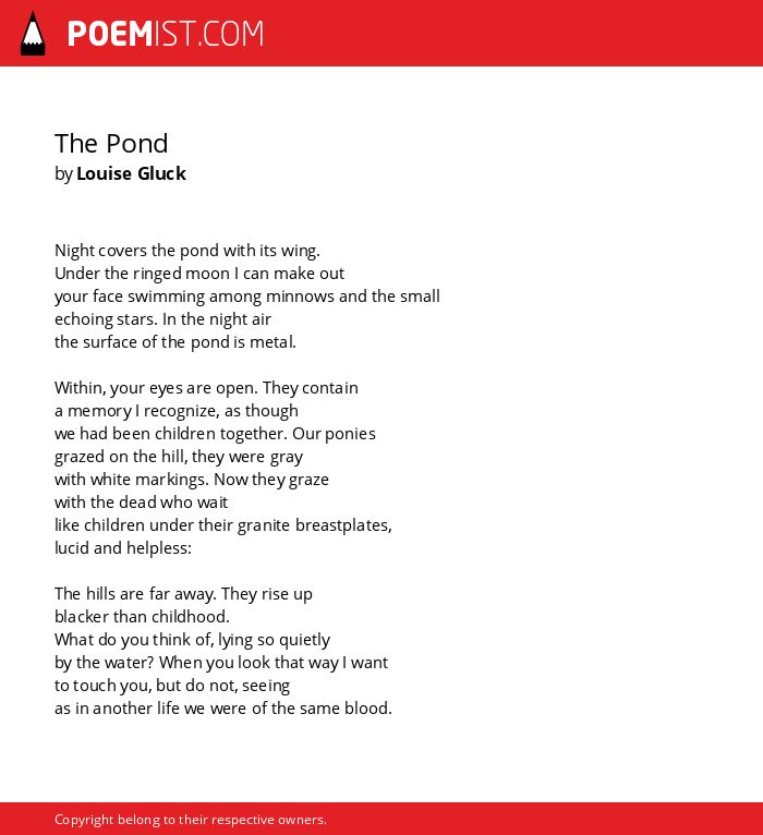 The Pond By Louise Gluck Poemist