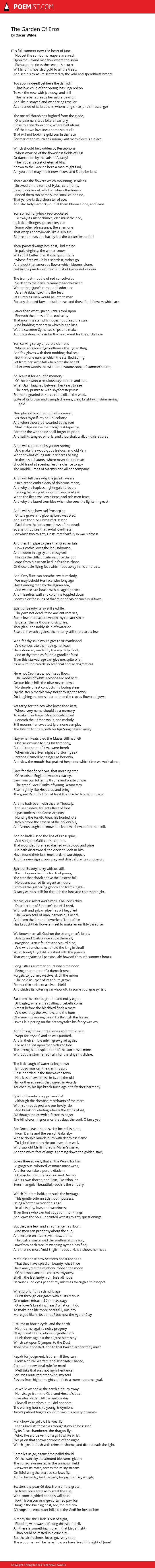 The Garden Of Eros By Oscar Wilde Poemist