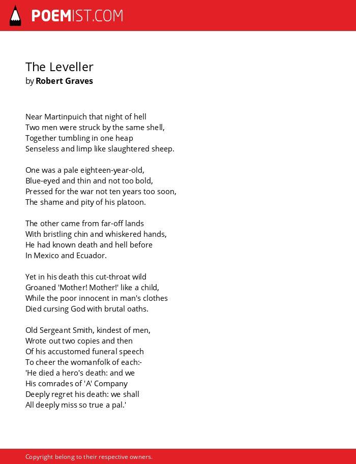 The Leveller By Robert Graves Poemist
