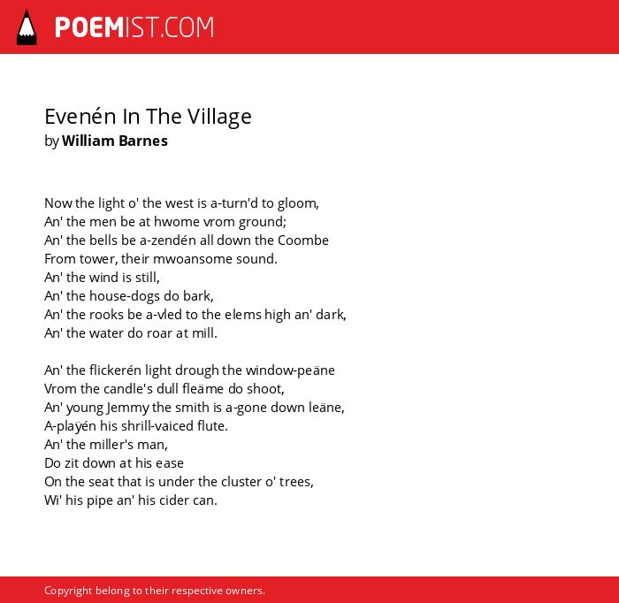 Evenén In The Village by William Barnes | Poemist