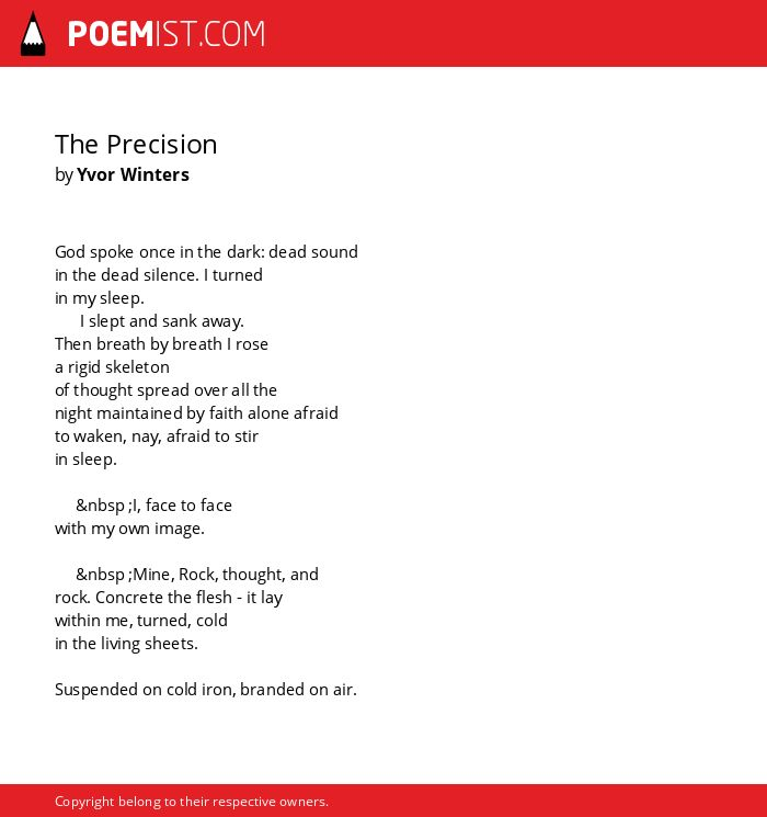 The Precision By Yvor Winters Poemist