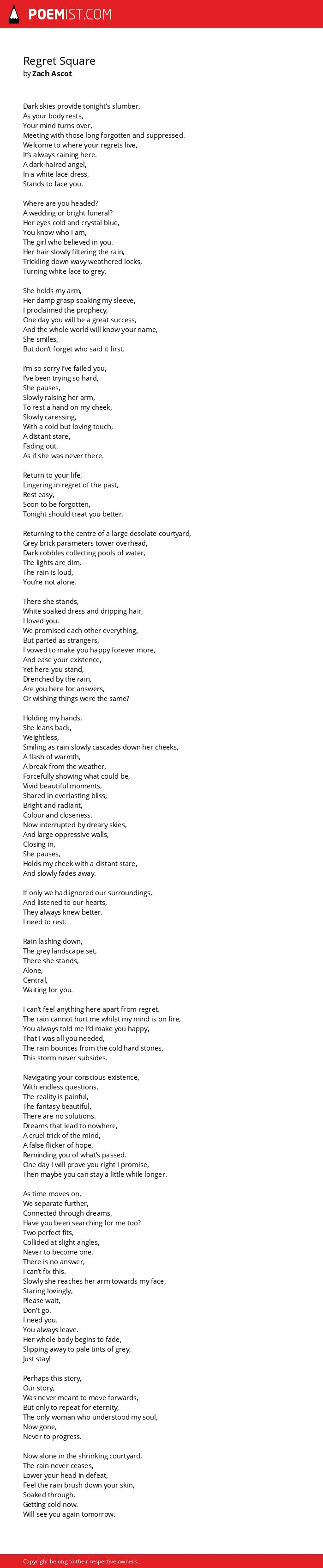 Regret Square by Zach Ascot | Poemist