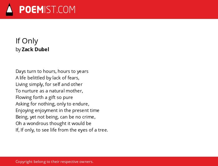 If Only By Zack Dubel Poemist